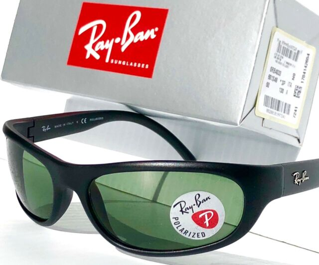 13dc6aa3d5 NEW  Ray Ban Sport wrap Matte Black w POLARIZED Green Lens Sunglass RB 4033