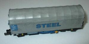 Roco-25377-Baches-de-Wagon-Coulissant-Shimmns-4-achsig-Bleu-Gris-Steel-034-OBB-gt
