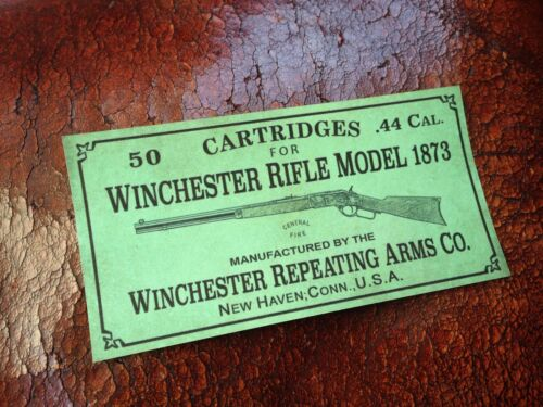 Winchester Rifle Model 1873 LABEL STICKER 44 Cal ammo box 50 cartridges old west