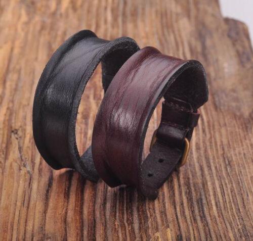 G170 Black /&Brown Biker Single Wrap Cool Men/'s Vintage Leather Bracelet Cuff NEW