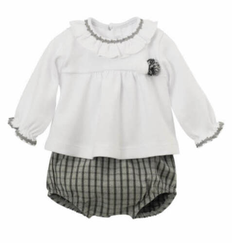 Baby Girl Boy Spanish Grey Checked Jam Pants Set Calamaro