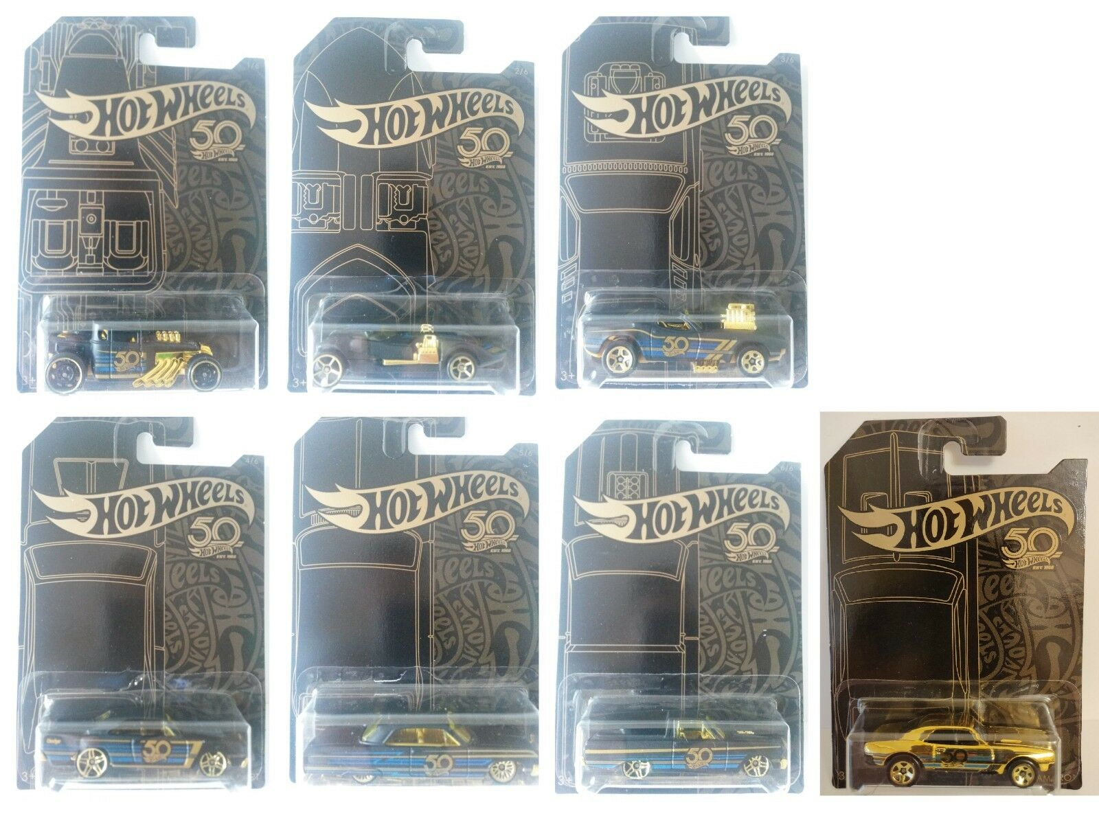 2018 Hot Wheels 50th Anniversary gold Series Diecast Metal Toy Cars SET OF 7