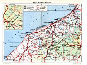 Rabat-Mazagan-Oued-Zem-Maroc-1950-carte-orig-El-Jadida-Settat-Khourigba-Oualidia