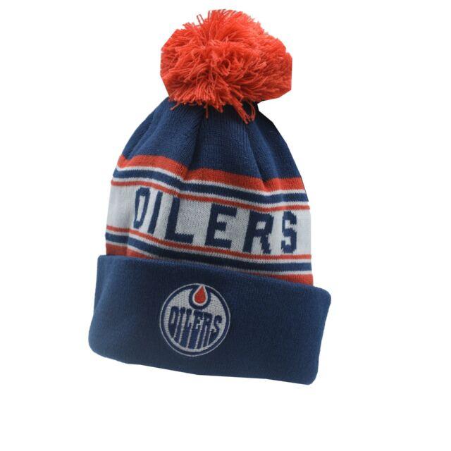 ccf8d08f81a2e Edmonton Oilers NHL Reebok Youth Boys (8-20) Cuffed Pom Knit Winter Beanie