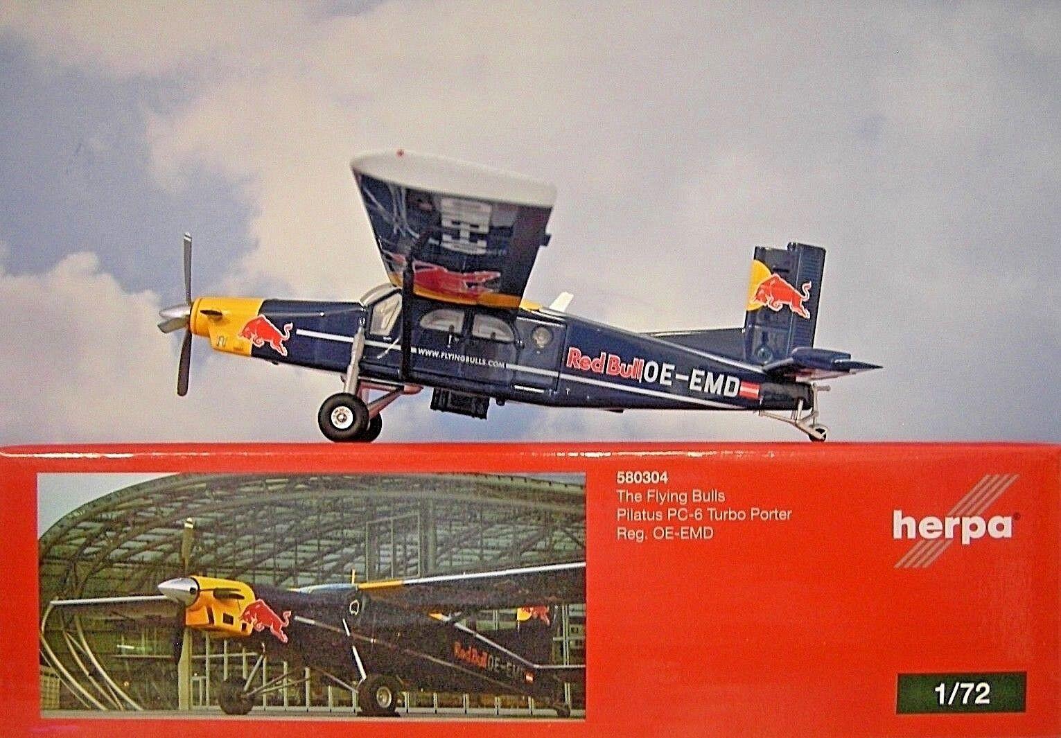 Herpa Wings 1 72 Pilate pc-6 Turbo Porter The Flying Bulls OE-EMD 580304