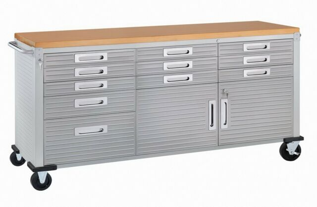 Magnificent 11 Drawer Tool Storage Chest Cabinet Wood Top Workbench Mobile Rolling 2 Door Theyellowbook Wood Chair Design Ideas Theyellowbookinfo