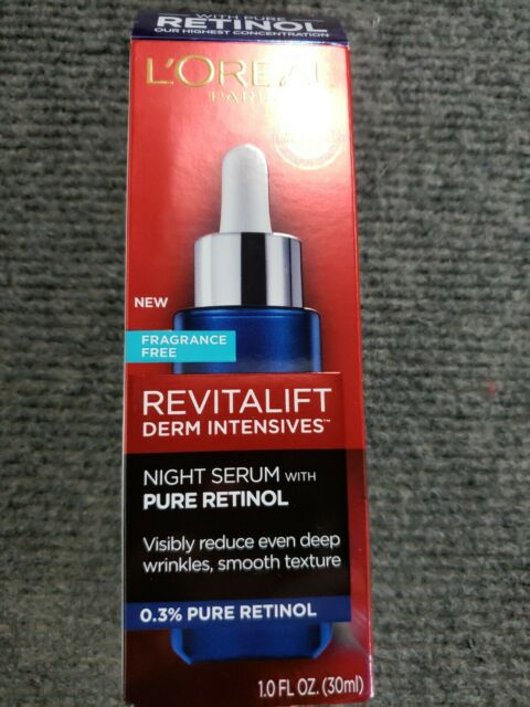 L'Oreal Paris Revitalift Derm Intensives Night Serum, 0.3% Pure Retinol - 1.0 oz