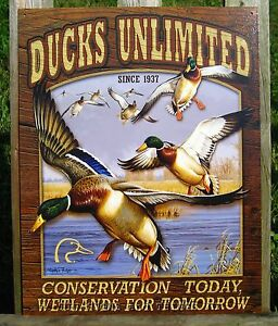 Image Is Loading Ducks Unlimited Mallards Tin Sign Metal Wall Art