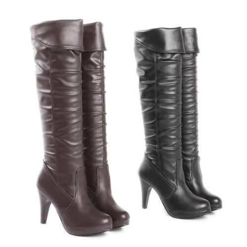 Ladies Clubwear Shoes Synthetic Leather High Heels Over Knee Boots US Size b155