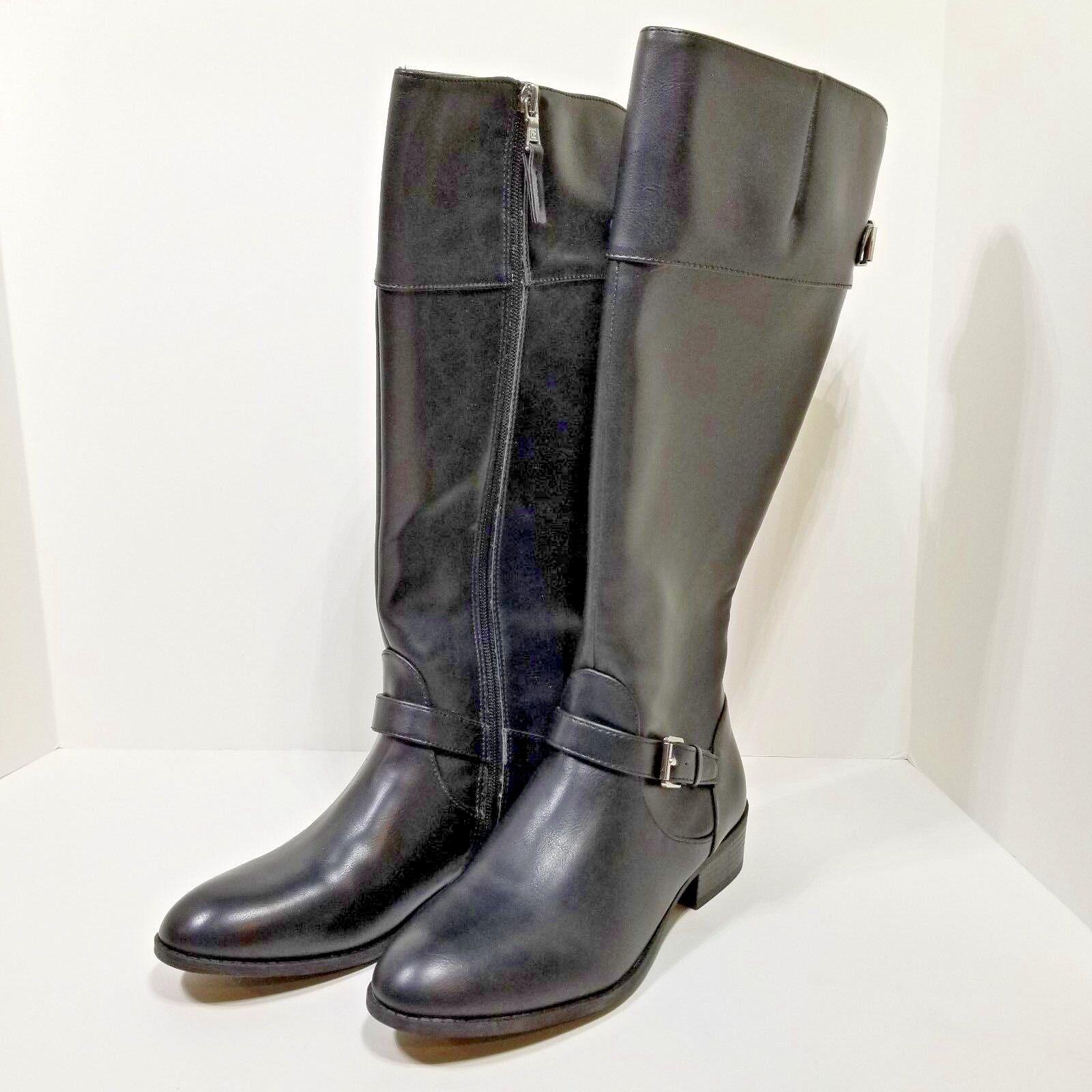 Chaps Gen Women's Black Buckle Knee High Riding Boots US 8 B NEW USA Shipping