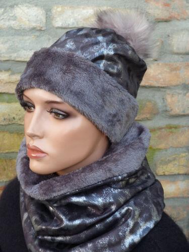 Edles Mützenset Schalset Mütze mit Loopschal Snood Schal mit Mütze Webpelzfutter