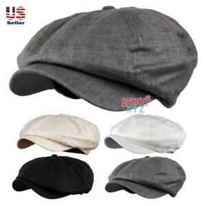 785e630a74a Woman Men s Classic 8 Panel Newsboy Linen Applejack Gatsby Cabbie ...