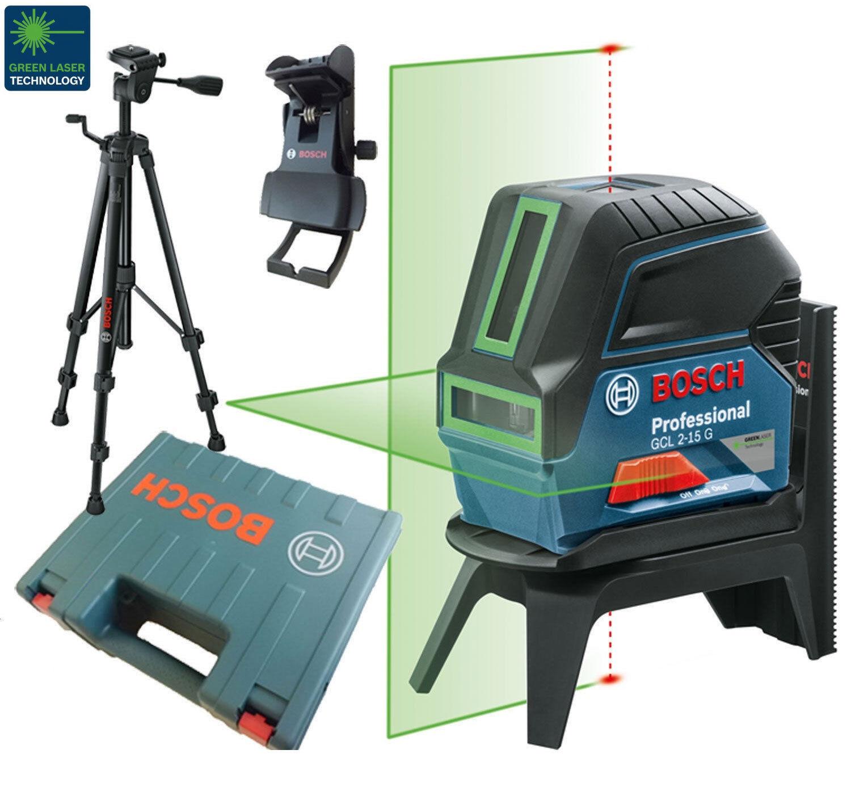 BOSCH GCL 2-15 G Baulaser Linienlaser mit Stativ BT150 im Koffer Laserfarbe Grün