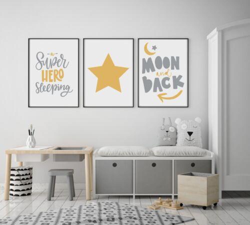 Set of 3 Superhero Sleeping Star Yellow /& Grey Prints Nursery Kids Room Wall Art