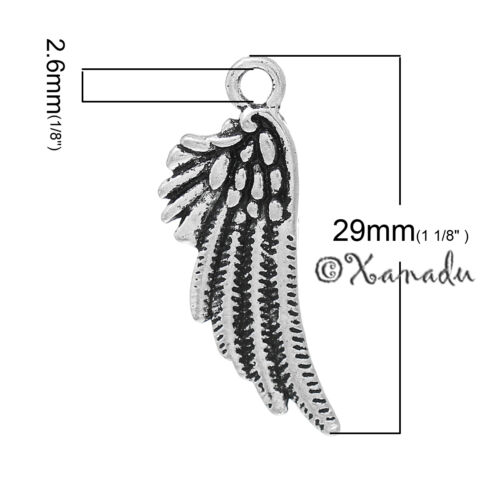 20 Or 50PCs Angel Wings 29mm Antiqued Silver Plated Charm Pendants C4730-10