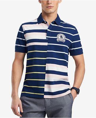 Tommy Hilfiger Men/'s Estate Blue//Pink Stripe Fillmore Custom Fit Polo Shirt