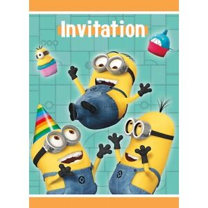 despicable me minion birthday invitations with envelopes pack of 8