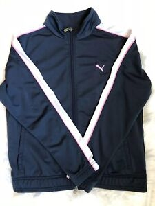 Puma Women's Classic Full Zip Track Jacket Navy Blue With Pink White Size Large