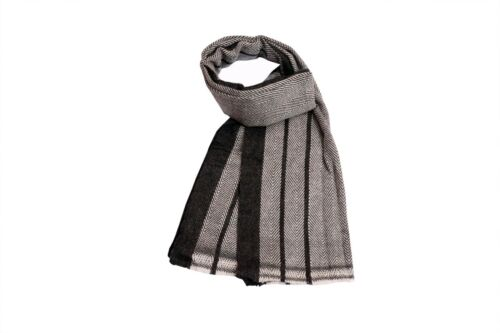 Brand New 100/% Wool Cashmere Black /& White Herringbone Warm Winter Men/'s Scarf