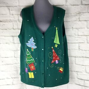 Details about Ugly Christmas Sweater Vest XL 16 18 Trees Sequin No Boundaries Green