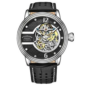 Stuhrling 3971 Automatic Skeleton Perforated Embossed Leather With Stitching