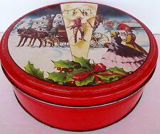 "Vtg Fruit Cake Christmas Litho Tin Texas Collins Street Bakery RED 8"" D x 2 3/4"""