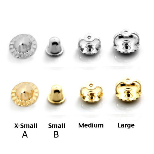 14K Solid White /& Yellow Gold Screw Backs Earrings Nut Replacement Findings