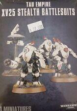 Warhammer 40K Tau Empire XV25 STEALTH BATTLESUITS (3 man team) & Drone, New