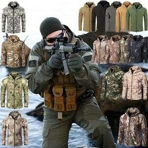 b464c7166 Image is loading Men-Outdoor-Waterproof-Fleece-Jacket-SharkSkin-SoftShell- Coat-