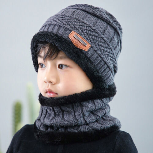Winter Warm Knitted Crochet Beanie Hat Cap Scarf Set Baby Toddler Kids Boy Girl