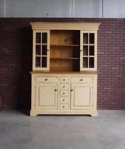 Details About Farmhouse Hutch ~ China Cabinet ~ Pine Hutch ~ French  Farmhouse Cabinet