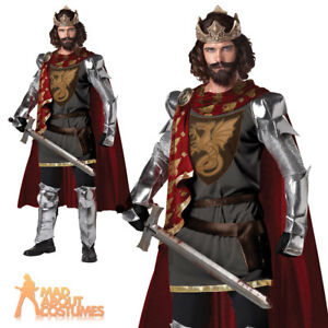 Adult Mens Medieval Knight Costume King Warrior Historical Fancy Dress Outfit