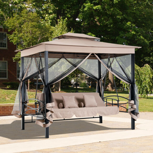 3 in 1 Patio Swing Gazebo Canopy Daybed Hammock Canopy Tent Outdoor Furniture & 3 Person Outdoor Patio Daybed Canopy Gazebo Swing W/ Mesh Walls for ...