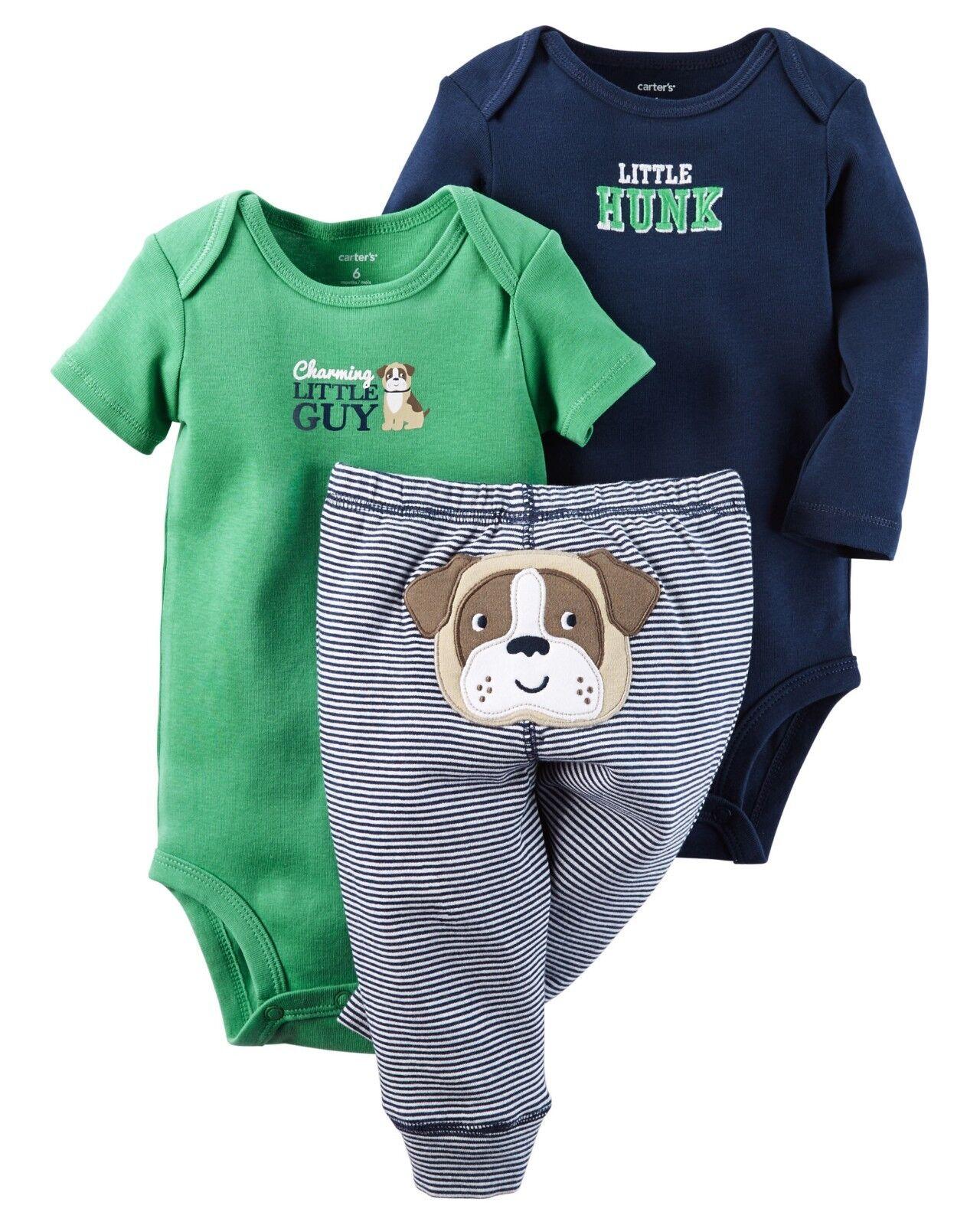 3M  6M Carter/'s Baby Boys Built Tough 3 Pc Bodysuit /& Pants Set NWT Sz Newborn