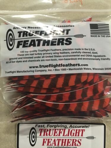 Trueflight 5 inch Feathers Right Wing Parabolic Cut 50 pack Orange Barred