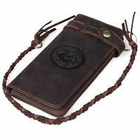 Men's Genuine Thick Leather Bifold Wallet Cowboy Purse With Chain Card Holder