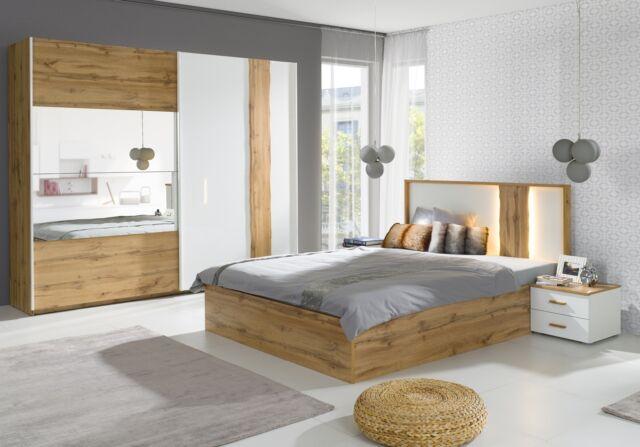 Komplett Schlafzimmer Hochglanz Weiß / Altholz Optik mit Schwebetürenschrank