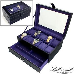 Leathersmith-di-Londra-Nero-Cuoio-Rigenerato-10-Orologio-Display-Case-amp-STORAGE-BOX