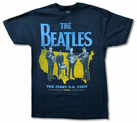 The Beatles first U.s. Visit 1964 Navy Blue T-shirt Official Adult