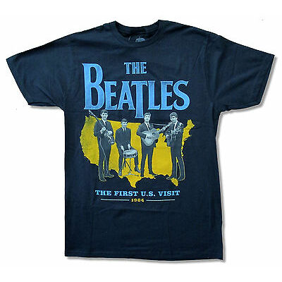 """THE BEATLES """"FIRST U.S. VISIT"""" 1964 NAVY BLUE T-SHIRT NEW OFFICIAL ADULT"""