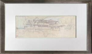 "Frank Lloyd WRIGHT Lithograph #'ed LIMITED Ed. ""EE Boynton House, NY +FRAMING"