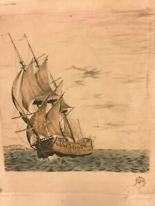 Clipper Ship Etching w/ Pencil Remarque French Artist by Sidney Z Lucas (#2/2)