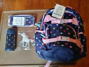 Pottery Barn Set Rainbow Large Heart Backpack Water