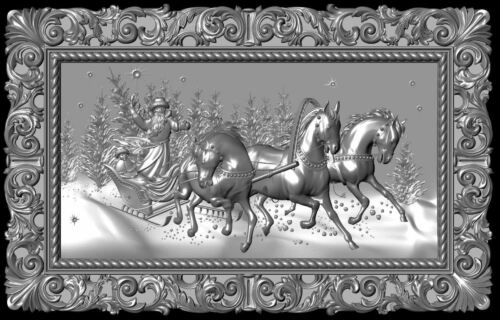 Model for CNC Router Machine # 11 New Year troika horses panno 3d STL file