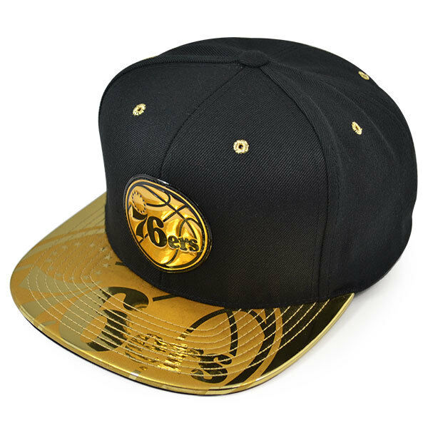 81e154e026200 Philadelphia 76ers Team Standard Snapback Mitchell   Ness NBA Hat-  Black gold