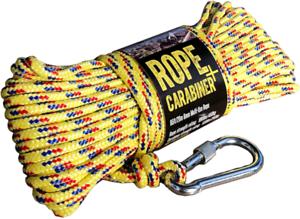 20 Meters Strong Braid CactusBloom Rope and Locking Carabiner Clip 65 feet