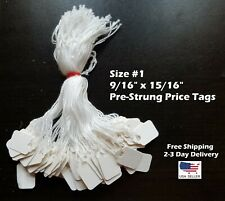Size 1 Small Blank White Merchandise Price Tags With String Retail Jewelry Strung
