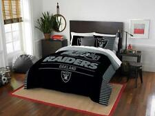 Oakland Raiders - 3 Pc FULL / QUEEN SIZE Printed Comforter / Sham Set