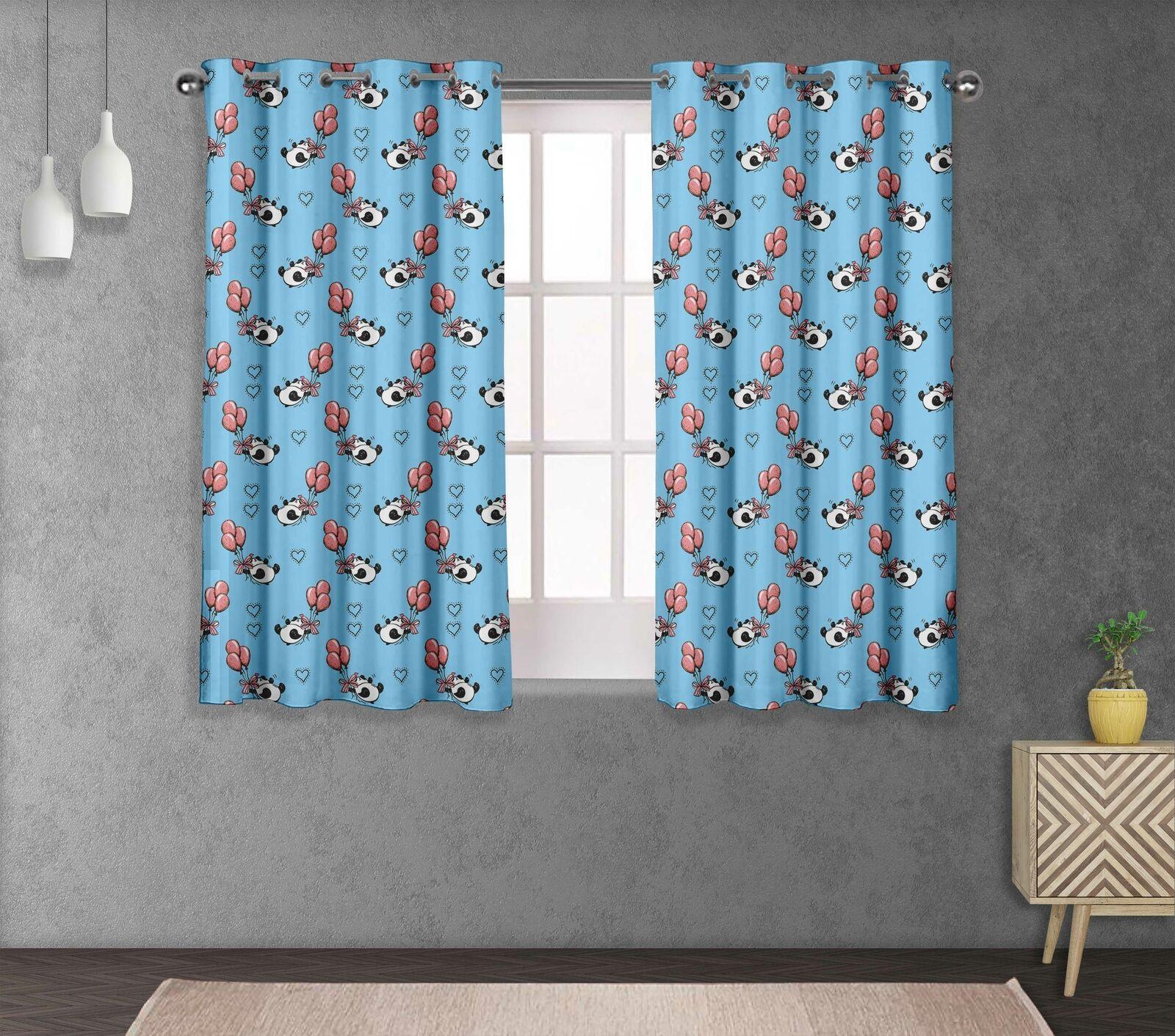 S 4 Sassy Panda & Globos Salón Ojal cortina de ventana de corto y larga-KD-512C