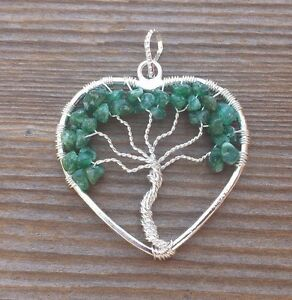 HEART STYLE JADE TREE OF LIFE WIRE WRAPPED PENDANT STONE GEMSTONE